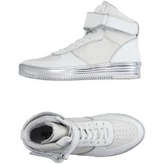 Dirk Bikkembergs Sport Couture Sneakers ($264) ❤ liked on Polyvore featuring shoes, sneakers, white, white flat shoes, velcro shoes, leather sneakers, white shoes and lace up sneakers
