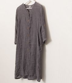 Front Buttons Wrinkles Linen Dress Front Buttons Wrinkles Linen Dress gift for her - $85.00 : Original Fashion in Comfortable Fibers - Organic Cotton, Linen, Silk, Cashmere, Bamboo and More | Zeniche.com