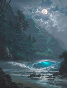 Roy Gonzalez Tabora via Elena (Livia) D. Fantasy Landscape, Landscape Art, Water Artists, Ocean Pictures, Moon Photography, Seascape Paintings, Ocean Art, Beach Art, Beautiful Landscapes