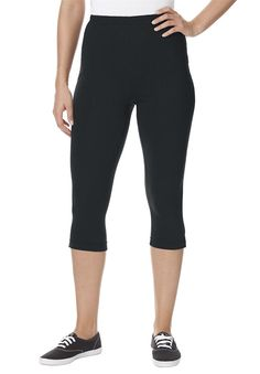 Women's Plus Size Petite Leggings, Capris In Stretch Knit ** This is an Amazon Affiliate link. Find out more about the great product at the image link.