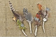 feather boutonnieres #rustic chic wedding