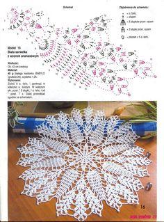 World crochet: Napkin 145 Free Crochet Doily Patterns, Crochet Doily Diagram, Crochet Mandala, Filet Crochet, Crochet Motif, Crochet Flowers, Crochet Lace, Crochet Coaster, Crochet Rugs