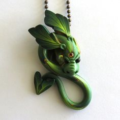 Bright Green Dragon Necklace Fairy Rider Miniature by Claybykim