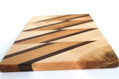 Walnut Cherry Maple Diagonal Stripe Cutting Serving Board - Sustainable Harvest - Timber Green Woods