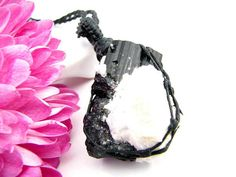 Tourmaline necklace, Raw black Tourmaline Necklace,  black tourmaline pendant, Jet black, Healing Crystal, Macrame necklace, gift for her