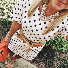Preppy polka dots and statement necklace Moda Outfits, Preppy Outfits, Preppy Style, Style Me, Cute Outfits, Summer Outfits, Preppy Clothes, Classy Outfits, Diesel Punk