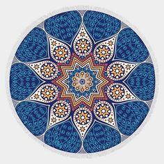 Round Moroccan Mandala Tassel Beach Blanket Towel - Blue - Dempsey & Gazelle