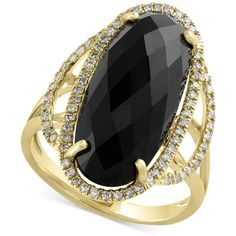Eclipse by Effy Onyx (6-3/8 ct. t.w.) and Diamond (1/4 ct. t.w.)... ($2,500) ❤ liked on Polyvore featuring jewelry, rings, yellow gold, diamond cocktail ring, gold band ring, diamond enhancer ring, round diamond ring and gold diamond rings