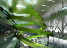 CEBRA's Green Ramps Spiral Through the Experimentarium Science Center in Copenhagen | Inhabitat - Sustainable Design Innovation, Eco Architecture, Green Building