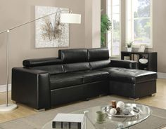 51640 Aidan Black Bonded Leather Storage Sectional Sofa Bed