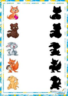 educational game find shade, find the shadow of the animals, the world, home, space Learning Through Play, Kids Learning, Toddler Activities, Preschool Activities, 1st Birthday Boy Themes, Kindergarten, Kids Math Worksheets, Math For Kids, Busy Book
