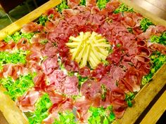 Tuscan appetizer for wedding or other  event. In the shape of a sun.