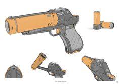 Flare gun by Sheng Lam Sci Fi Weapons, Fantasy Weapons, Weapons Guns, Robot Concept Art, Weapon Concept Art, Armas Wallpaper, Arte Robot, Future Weapons, Cool Guns