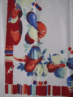 Vintage 1950s Tablecloth Bold Red and Blue Fruits and Bowls 40 x 46 Cotton by mydomesticities on Etsy