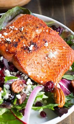 Seared Salmon Salad over Mixed Greens
