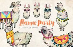 Llama Party Watercolor Clipart Set by Antler & Twine on @creativemarket