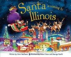 On Christmas Eve, Santa and his sleigh fly above popular sights. Children will love seeing Illinois from above. More great posts here: