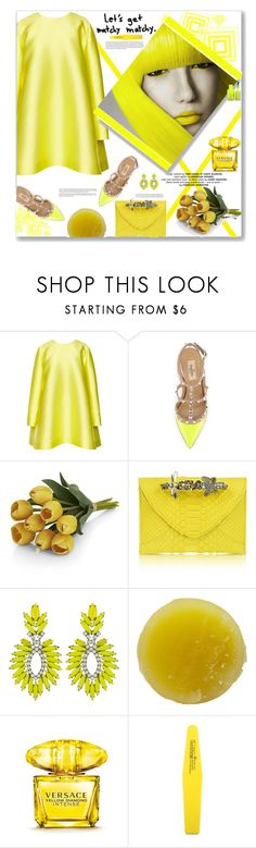 """""""Let's Get Matchy-Matchy"""" by fassionista ❤ liked on Polyvore featuring beauty, Emilia Wickstead, Valentino, Crate and Barrel, Maison Du Posh, Elizabeth Cole, Tata Harper, Versace, yellow and valentino"""