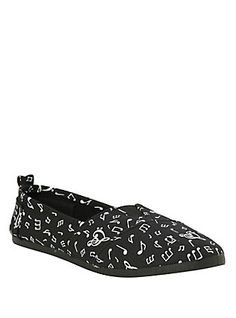 Music Clef Hearts & Notes Slip-Ons, BLACK