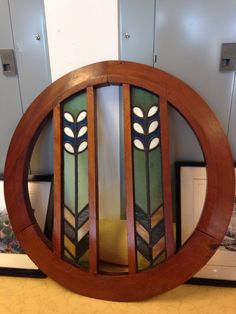 "Stained Glass 1930""s Scottish? Circular Walnut Frame Art Deco"