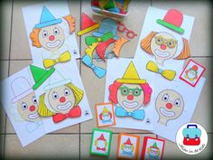 Clownpuzzels ( Jolien in de klas)  De kleuters versieren de clownen door de accesoires op de juiste plaats te hangen en rekening te houden met de kleuren.  ( Te koop zie website of fb) Montessori, Summer Activities, Preschool Activities, Atelier Theme, Summer Preschool Themes, Theme Carnaval, School Folders, Diy And Crafts, Crafts For Kids