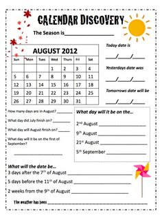 Use these monthly calendar worksheets in your classroom to reinforce counting, days of the week, days before and after and differences between years. 2nd and 3rd Grade. Challenge worksheets included. Updated every year!