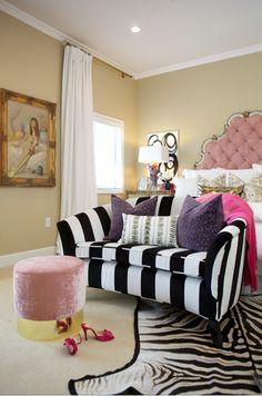 Glam Master Bedroom / Black and white striped sofa