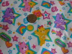 1 YARD OF Care Bear ALLSTARS fabric 44 wide *RARE* Out of Print!!!