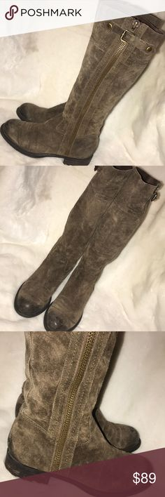 """Distressed suede Franco Sarto Panko boots Super cool distressed suede riding boots.  ❗️Please no low ball offers.❗️ ❗️Bundles always get a discount.❗️ Condition: Great, used  Measurements- Shaft height: 15"""" Calf circumference: 13"""" Heel height: 1""""  Smoke free home but I have a small dog.  Thanks for checking out my closet! ❤️ Franco Sarto Shoes"""