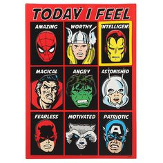 Marvel Superheroes 'Today I Feel' Embossed Metal Sign Set Tin Signs, Metal Signs, Wall Signs, Dc Comics Superheroes, Bedtime Routine, Office And School Supplies, Emboss, Marvel, Motivation
