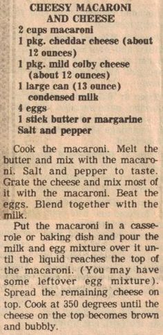 Cheesy Macaroni and Cheese (bake mac and cheese southern) Retro Recipes, Old Recipes, Vintage Recipes, Great Recipes, Cooking Recipes, Favorite Recipes, Recipies, Blender Recipes, 1950s Recipes