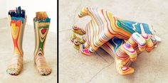 Japanese artist Haroshi makes these sculptures from recycled skateboard decks.
