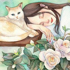 girl and flowers image Dyi Painting, Ballet Drawings, Romantic Drawing, Beautiful Fantasy Art, Cat Drawing, Cat Art, Love Art, Art Girl, Sculpture Art
