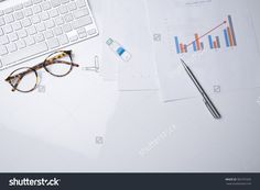 View From Above Of Office Supplies On A White Working Table Background. Stock Photo 365797265 : Shutterstock
