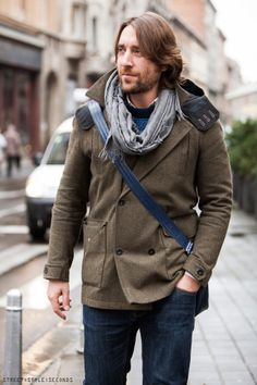 Khaki Pea Coat Les Poches Awesome Rugged Style Men Street Fashion