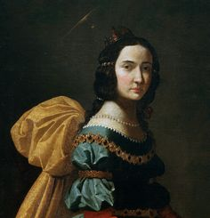 Francisco de Zurbarán, Saint Elisabeth of Portugal, c. 1635    From the Museo del Prado:    The saint is shown full length, walking toward the right and wearing a seventeenth-century lady's clothing. The roses she carries over her skirt allude to the miracle in which coins from the Royal Treasury, which she secretly handed out to the needy, turned into roses. A similar story is told about Saint Casilda, with whom this painting has also been identified.