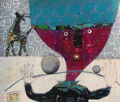 Elke Trittel acrylics,collage on paper 26x30cm