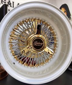 13x7 Reverse 72 Spokes Straight Cross with Stainless Steel Bamboo Spokes, Pearl White Dish, Gold Nipples, Gold Engraved Hub and Gold 3 Bar Zenith Recessed Knock Off.