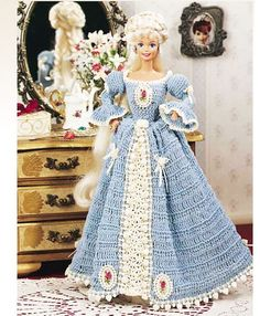 Barbie doll crocheted gown Pattern Only  by KellysAghansandCraft, $10.00