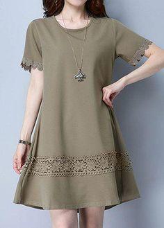 rotita.com - unsigned Lace Patchwork Scalloped Hem Mini Dress - AdoreWe.com
