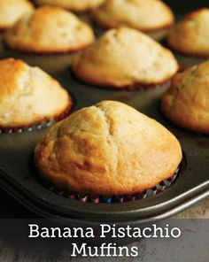 Cute and easy, these Banana Pistachio Muffins are really the best thing to make for a simple party treat. Check out the recipe!