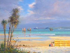Jumbos in the Bay, St Ives. Original Painting. By British Artist Ted Dyer.