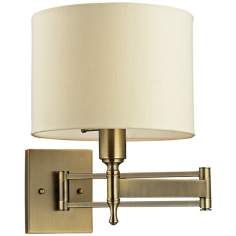 Pembroke Antique Brass Swing Arm Wall Lamp