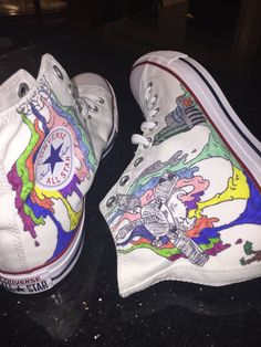 Twenty One Pilots Inspired Converse All-Star Shoes Twenty One Pilots Inspired Converse All-Star Shoes Converse All Star, All Star Shoes, Converse Style, Best Hiking Shoes, Hiking Boots, Looks Hippie, Painted Shoes, Painted Converse, Shoe Art