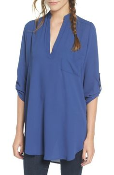 Main Image - Lush 'Perfect' Roll Tab Sleeve Tunic Blue large