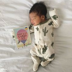 Organic Cotton Cactus Footed Rompers at spearmintLOVE.com