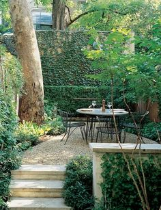 step up to patio area.fit in firepit and lounge area.pea gravel with ties/stone Small Courtyard Gardens, Small Courtyards, Small Gardens, Outdoor Gardens, Outdoor Rooms, Outdoor Dining, Outdoor Kitchens, Landscape Design, Garden Design