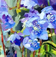 """Daily+Paintworks+-+""""Meander+Blue""""+-+Original+Fine+Art+for+Sale+-+©+Libby+Anderson"""