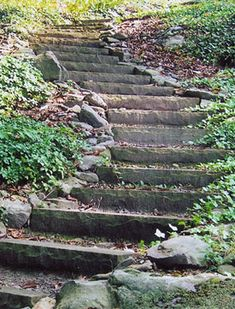 Hillside Landscape Plans | Winding stone stairs make a steep hillside accessible