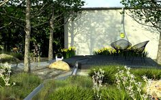 Wonderful patio, lovely planting, and that rill...  I WANT!